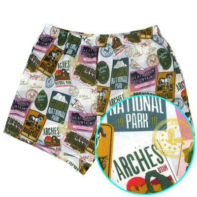 National Park Themed Travel Inspired Vintage Poster Cotton Boxer Shorts