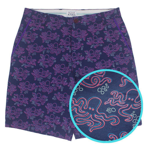 Octopus All Over Print Bermuda Shorts for Men in Navy Blue