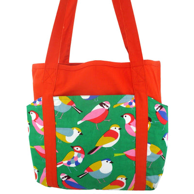 Bold Colorful Pretty Bird All Over Print Pocket Weekend Large Market Tote Bag