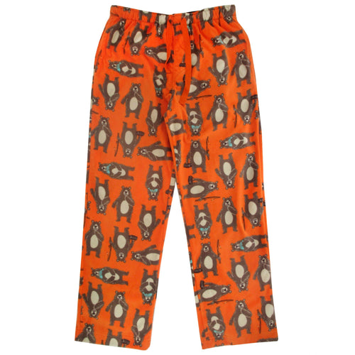 Men's Comfy Soft Warm Fleece Sleep Pants with Pockets in Bear Fishing Pattern