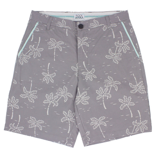Palm Tree Classic Fit 10 Inch Inseam Flat Front Men's Shorts