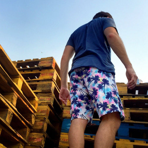 Psychedelic Palm Trees Colorful Print Men's Shorts