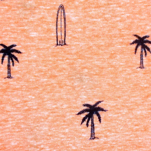 Round Neck Faded Cotton Jersey Surfboard Palm Tree Tee