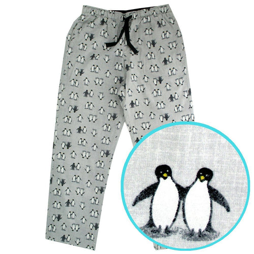 Light Grey Penguin Patterned Flannel Cotton Sleep Pants Pajama Bottoms
