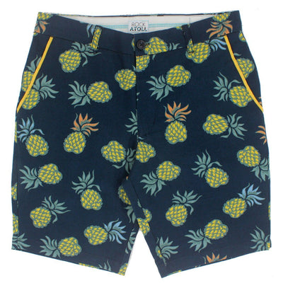 Colorful Pineapple All Over Print Men's Shorts in Blue