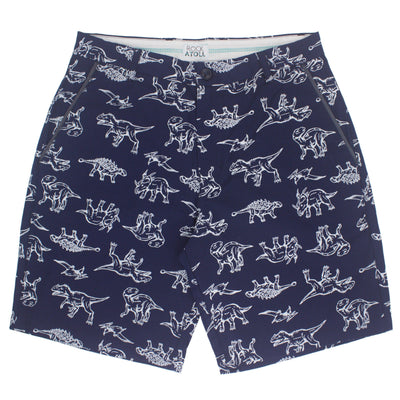 Dinosaur All Over Print Flat Front Bermuda Shorts for Men