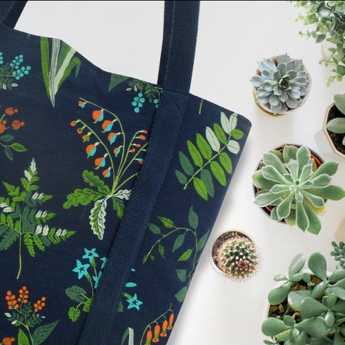 Succulent Plant Floral Print Canvas Large Market Grocery Shopper Tote Bag