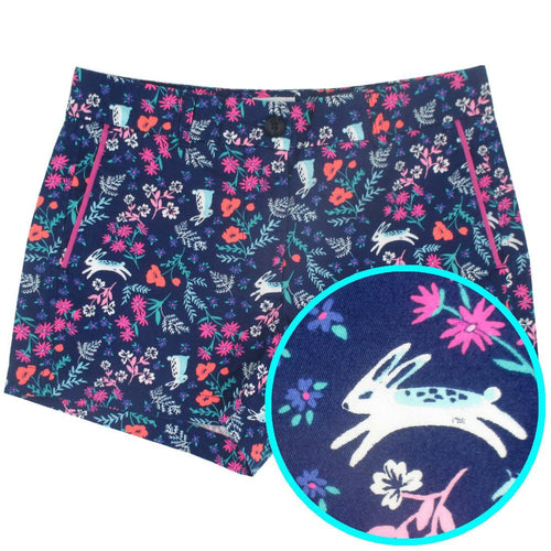 Rock Atoll Womenswear Colorful Floral Bunny Rabbit Easter All Over Print Flat Front Shorts for Women in Purple