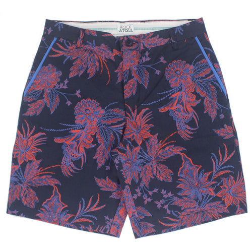 Red Blue Floral Print Flat Front Men's Shorts in Navy