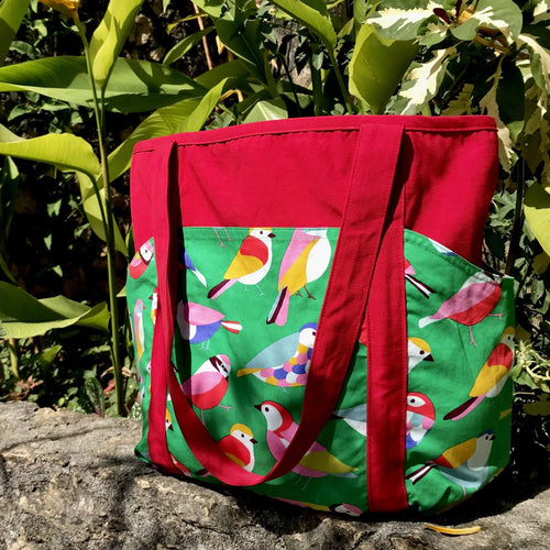 Colorblock Bird Print Weekend Large Utility All Purpose Tote Bag