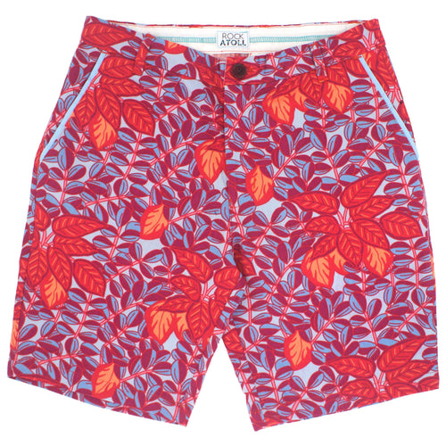 Red Floral Leaves and Vines Print Flat Front Mens Shorts