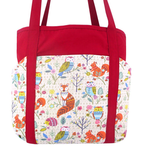 Woodland Creatures Animal Fox Owl Squirrel Print Pocket Cotton Shopper Market Tote