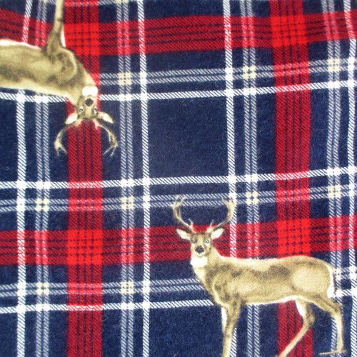 Colorful Red White Blue Plaid Moose Buck Deer Wildlife All Over Print Cotton Flannel Warm Pyjama Bottoms