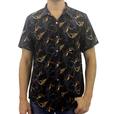 Men's Casual Relaxed Fit Button-Up Hawaiian Aloha Shirts with Monkey All Over Print