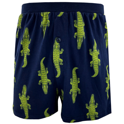 Men's Crocodile Alligator All Over Print Soft Knit Boxer Pajama Shorts