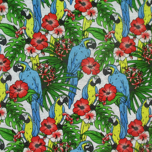 Bright Tropical Parrots and Jungle Leaves Animal All Over Print on Grey