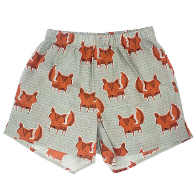 Rock Atoll Bright Bold Fun Men's Boxer Shorts with Fox Animal Print