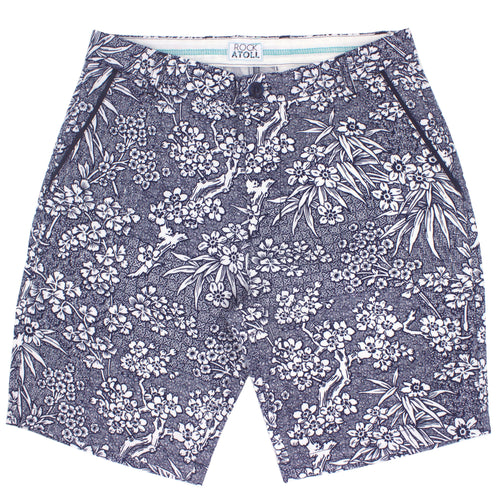 Japanese Sakura Flower All Over Print Flat Front Mens Shorts in Navy