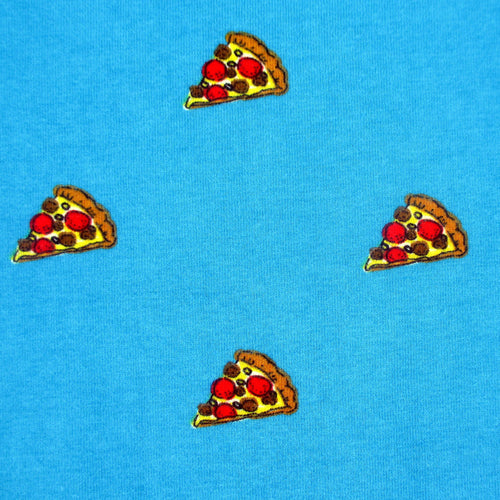 Food Themed Pizza Slice All Over Print T-Shirt for Men in Bright Blue
