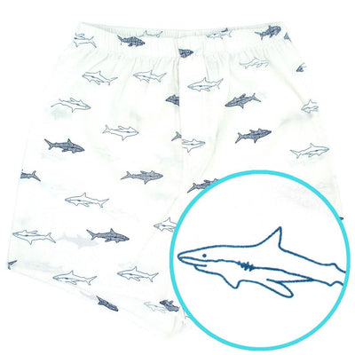 Rock Atoll White Boxer Shorts with Nurse Shark All Over Novelty Print