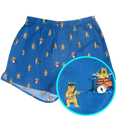 Musical Bears Playing Instruments All Over Print Cotton Boxer Shorts for Men