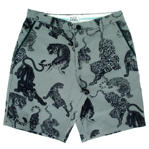 Rock Atoll Men's Flat Front Chino Shorts with Black Panther Tiger All Over Print in Mint