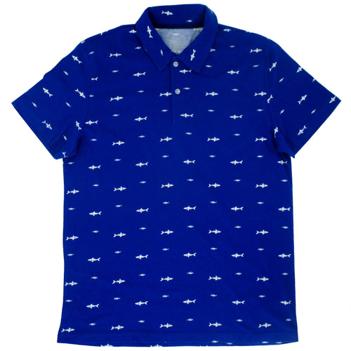 Rock Atoll Shark All Over Print Bright Blue Jersey Polo Tee