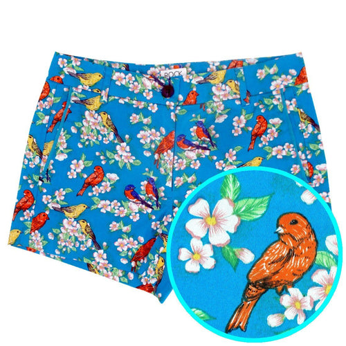 Colorful Bird Floral All Over Print Flat Front Chinos Shorts for Women in Blue