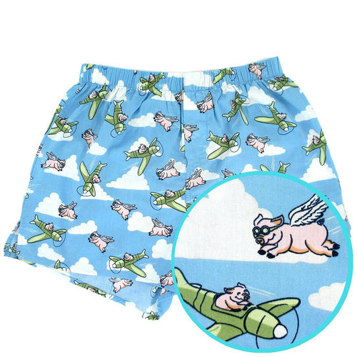 Rock Atoll Men's Boxer Shorts with Flying Pigs and Cloud All Over Print