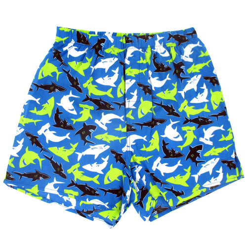 Rock Atoll Hammerhead Sharks All Over Cartoon Novelty Print Boxer Shorts in Blue