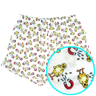 Funny Chick Magnet Baby Chicks All Over Print Cotton Boxer Shorts for Men in White