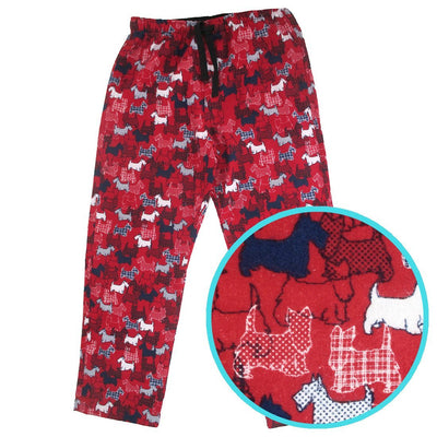 Rock Atoll Mens Sleep Lounge Pyjama Flannel Pant Bottoms with Schnauzer All Over Print in Red