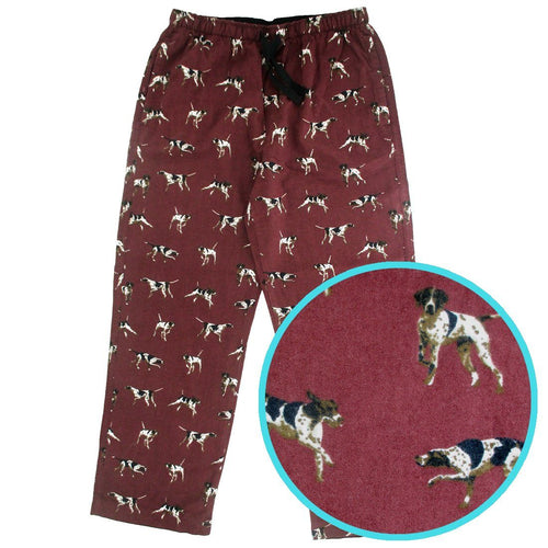 Dark Red Men's Dog All Over Print Flannel PJ Pant Bottoms
