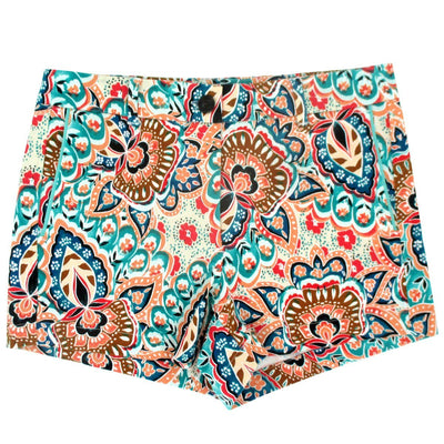 Crazy Bold Paisley Print Flat Front Bermuda Chino Shorts for Women