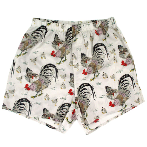 Rock Atoll Fun Bold Weird Boxer Shorts for Men with Chicken All Over Print