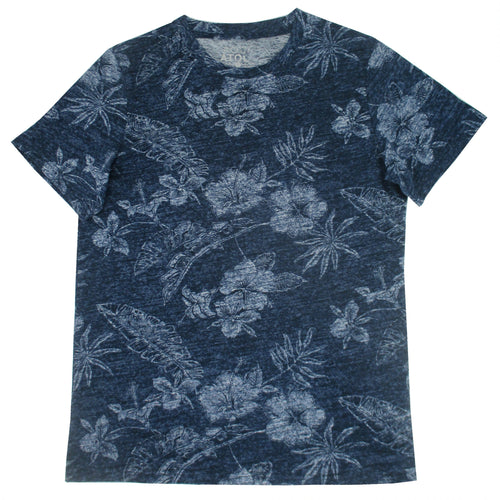 Round Neck Hibiscus Floral Print Faded Cotton T-Shirt in Blue
