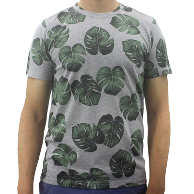Summer Essentials Round Crew Neck Leaf Patterned Soft Cotton Jersey T-Shirt Tees