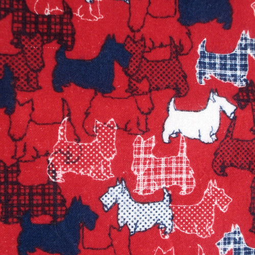 Scottie Scottish Terrier Dog All Over Print Flannel Pants for Men in Bright Red