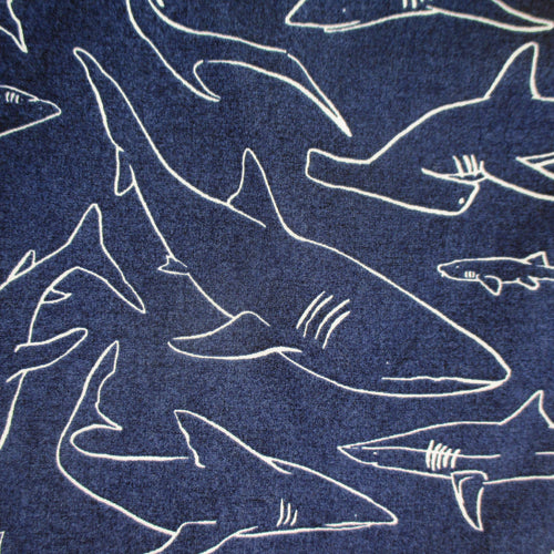 Fun Shark Pattern Cotton Boxer Shorts for Men in Blue