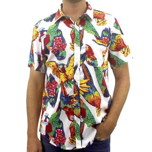 Epic Parrots Wearing Hawaiian Shirts Patterned Aloha Shirt