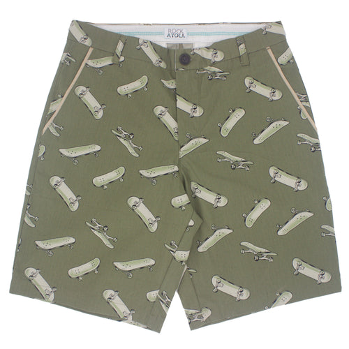 Skateboard Print Flat Front Cotton Shorts for Men