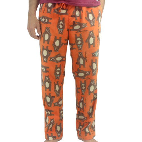 Bright Orange Colorful Brown Bears Gone Fishing All Over Print Soft Fleece Bottoms Pants for Men