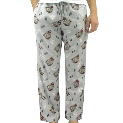 Super Soft Sloth Print Just Chillin Pattern Flannel Pajama Bottoms