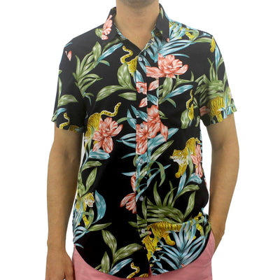 Men's Soft Comfy Tiger and Floral Print Button Up Short Sleeve Shirt in Black