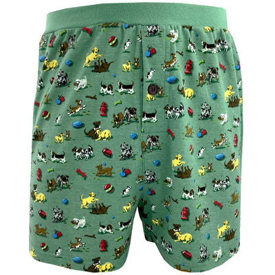Men's Happy Puppy Dog All Over Print Knit Boxer Pajama Shorts in Green