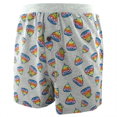 Funny Rainbow Smiley Poop Patterned Cotton Knit Boxer Shorts for Men