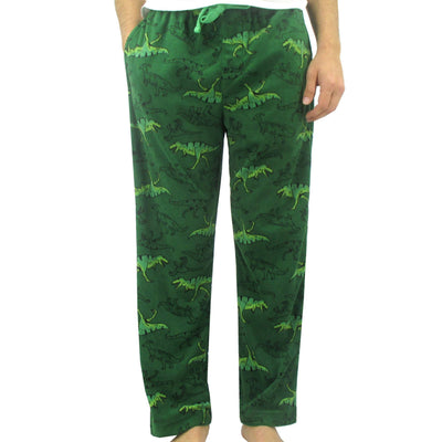 Men's Winter Essentials Green T-Rex Dinosaur Patterned Fleece Pyjama Bottoms