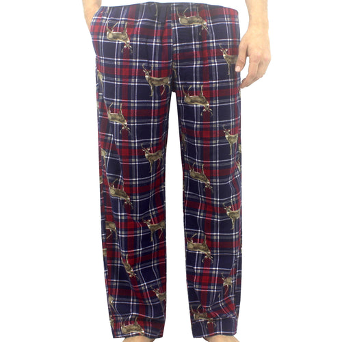 Men's Red Blue Plaid Tartan Reindeer Moose Patterned Soft Flannel Pajama Bottom Pants