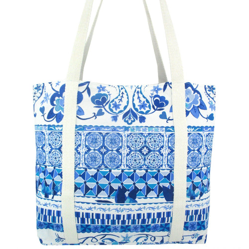 Blue Floral Paisley Mosaic All Over Print Pretty Canvas Tote Bag in White and Blue