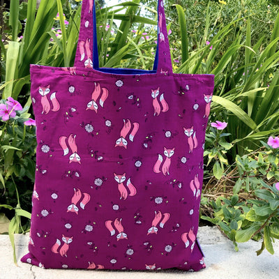 Purple Cute Animal Themed Fox All Over Print 2 in 1 Reversible Tote Bag
